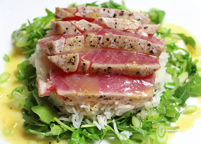 Seared Ahi Tuna Steaks With Coconut Rice Recipe From Chefiam Chef I Am